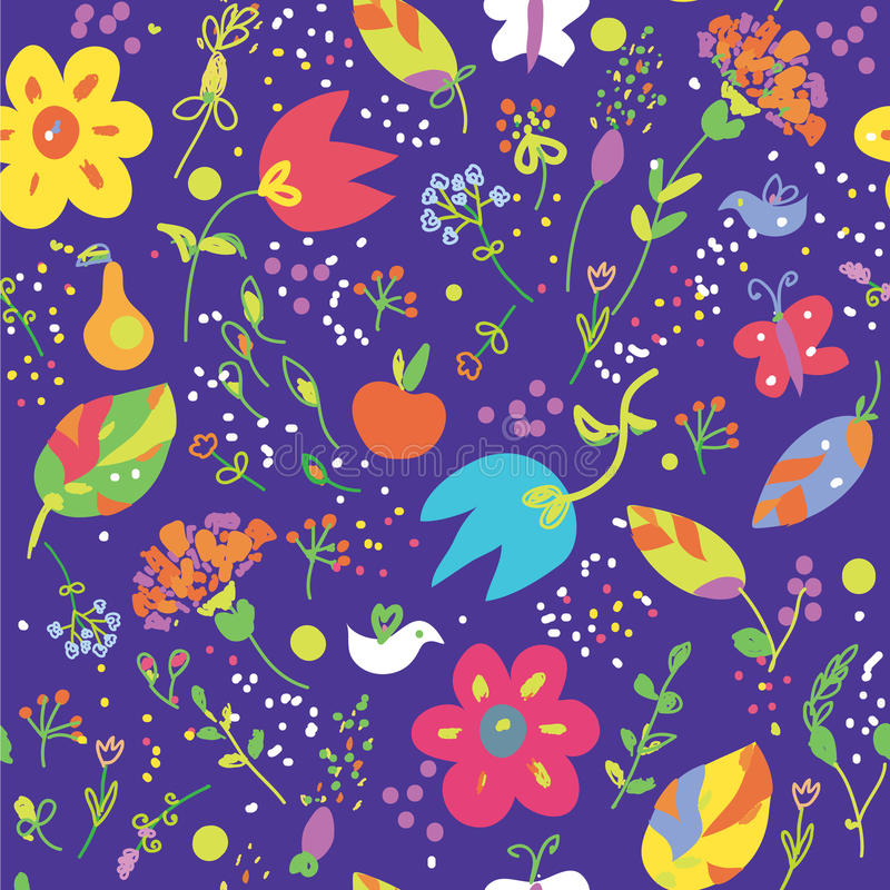 Download Floral Seamless Pattern With Bird Stock Vector - Illustration: 31872954