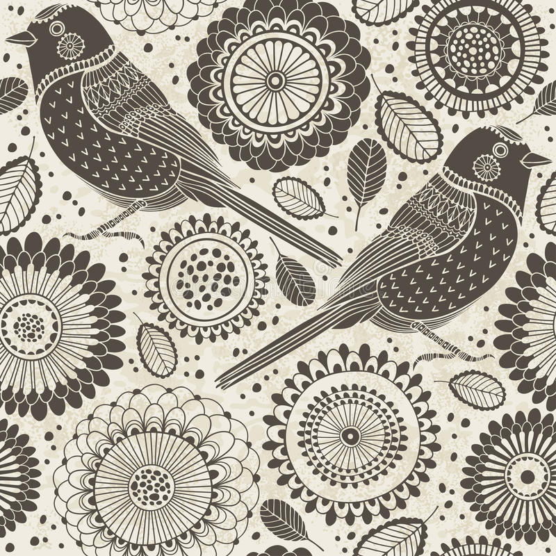 Floral seamless pattern with birds. Cartoon background. royalty free illustration