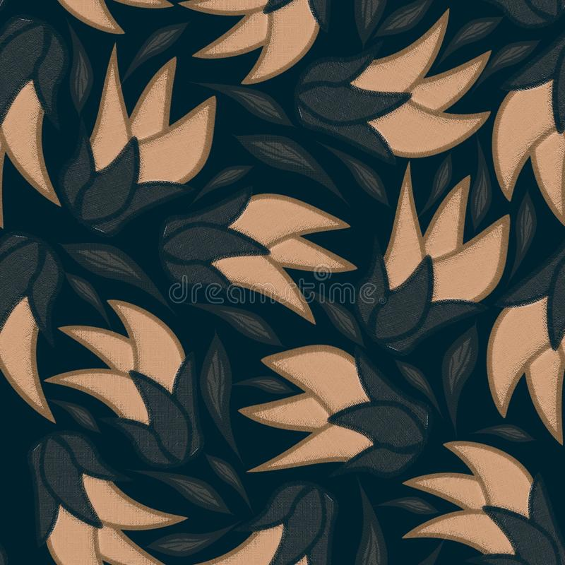 Floral seamless pattern on black background with gray leaves. stock illustration