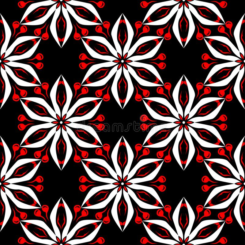 Floral seamless pattern. Black red and white background for wallpapers, textile and fabrics. stock illustration