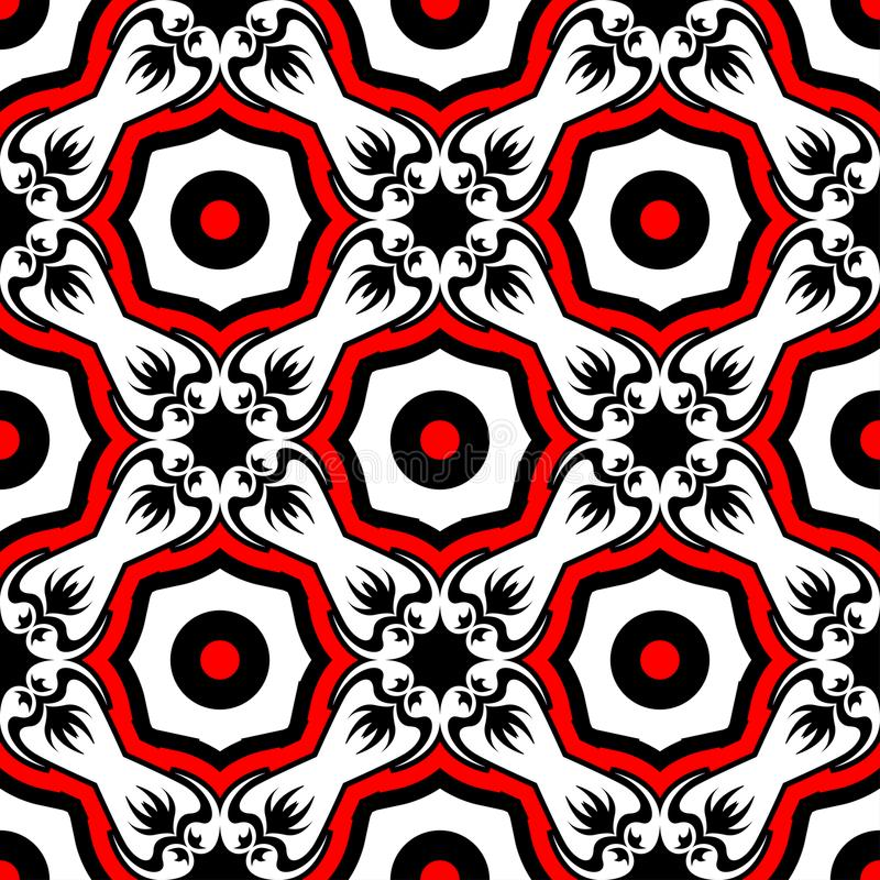 Floral seamless pattern. Black red and white background for wallpapers, textile and fabrics vector illustration