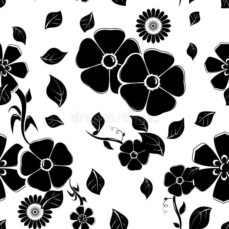 Floral seamless pattern. Black vector illustration stock illustration