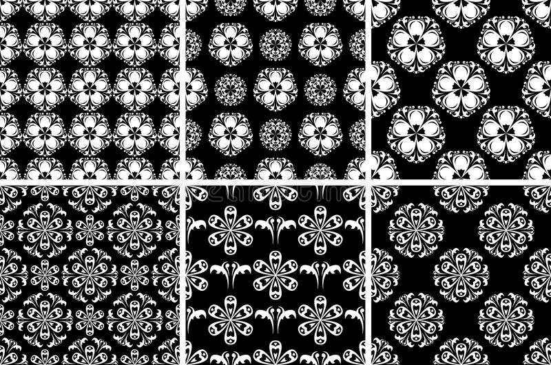 Floral seamless pattern. Black and white abstract backgrounds royalty free illustration