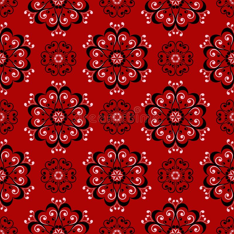 Floral seamless pattern. Black and white design on red background royalty free illustration