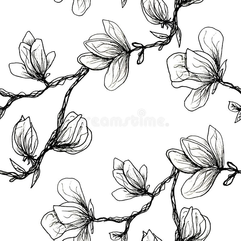 Floral seamless pattern. Blooming magnolia on a white background. Print for fabric and other surfaces. Raster illustration.Black vector illustration
