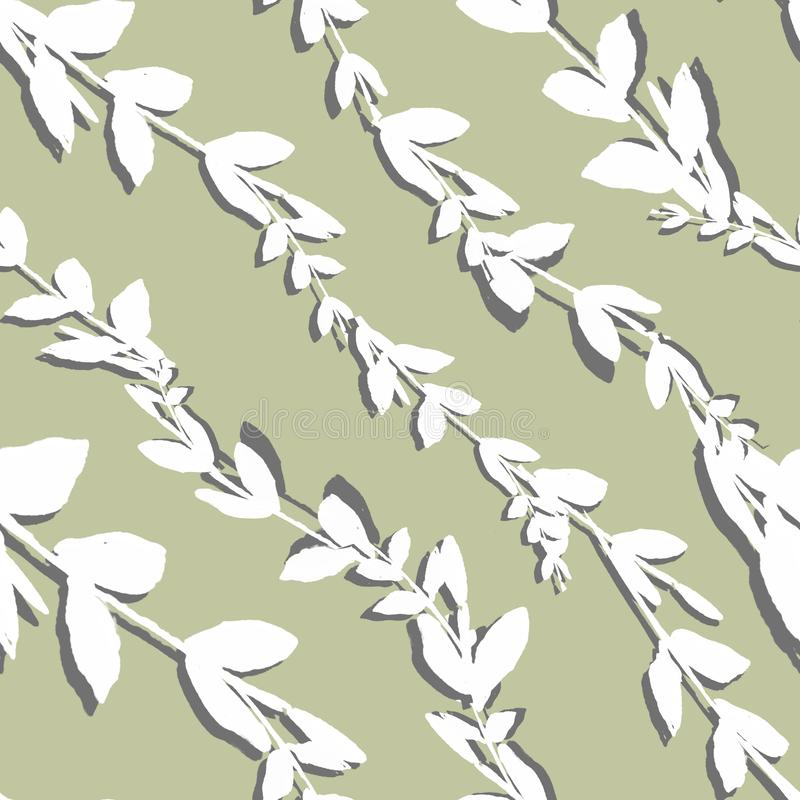 Floral seamless pattern. Branch with leaves ornament. Flourish nature garden textured background.  vector illustration
