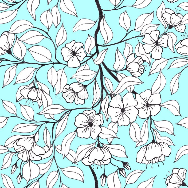 Floral seamless pattern with branches with apple flowers and leaves. royalty free illustration