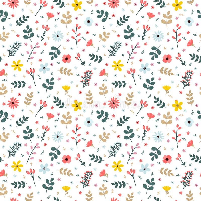 Floral seamless pattern with branches, flowers and leaves royalty free illustration