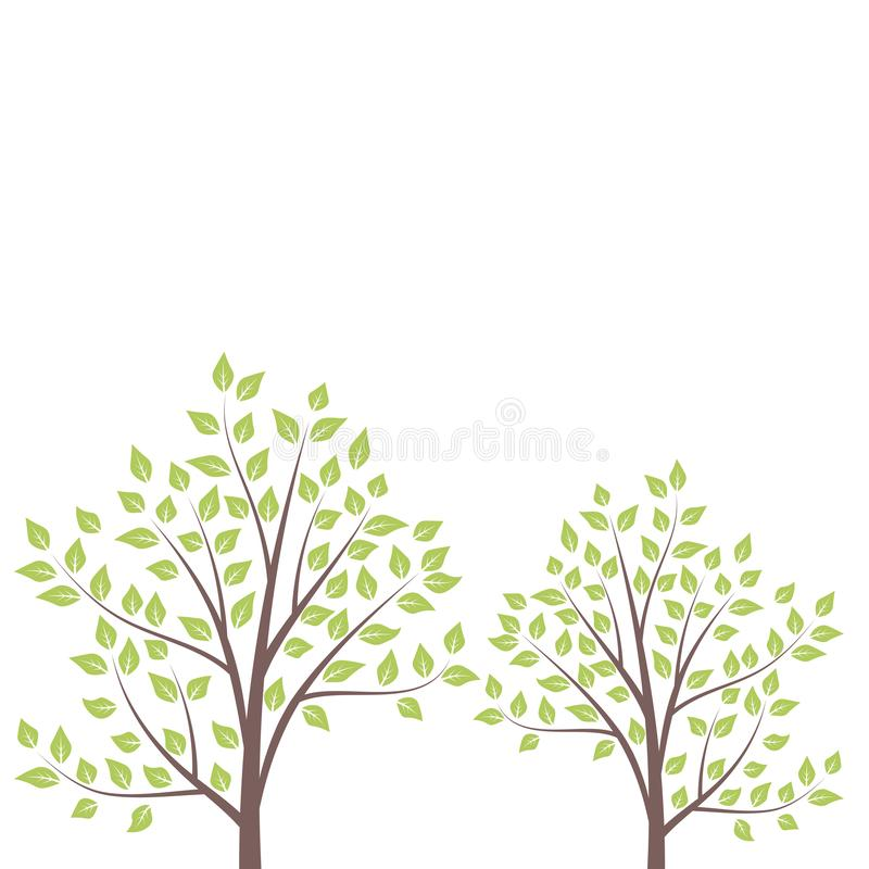 Floral card with trees with branches and leaves. Floral card with spring trees with branches and leaves. Vector illustration stock illustration