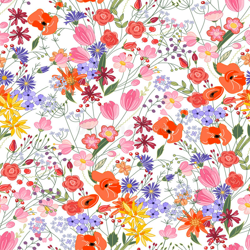 Floral seamless pattern with bright summer flowers. vector illustration