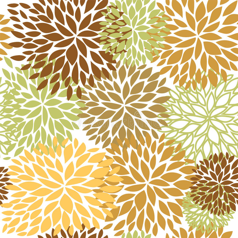 Floral seamless pattern in brown, beige and light green colors. vector illustration