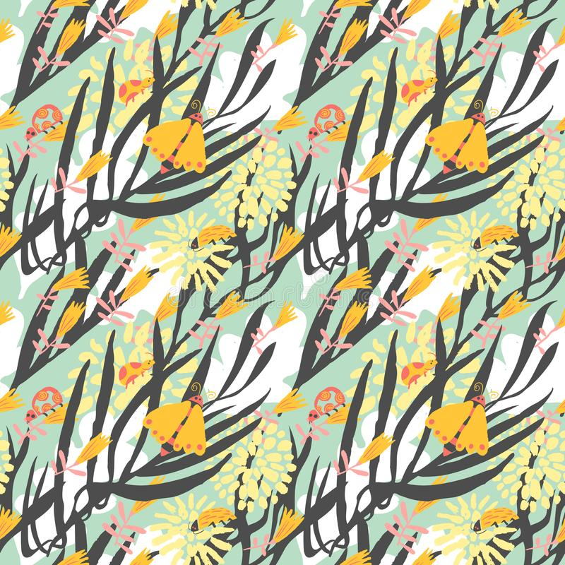 Download Floral Seamless Pattern With Bugs, Beetles, Ladybirds, Butterfli Stock Vector - Illustration of cute, elegance: 116735737