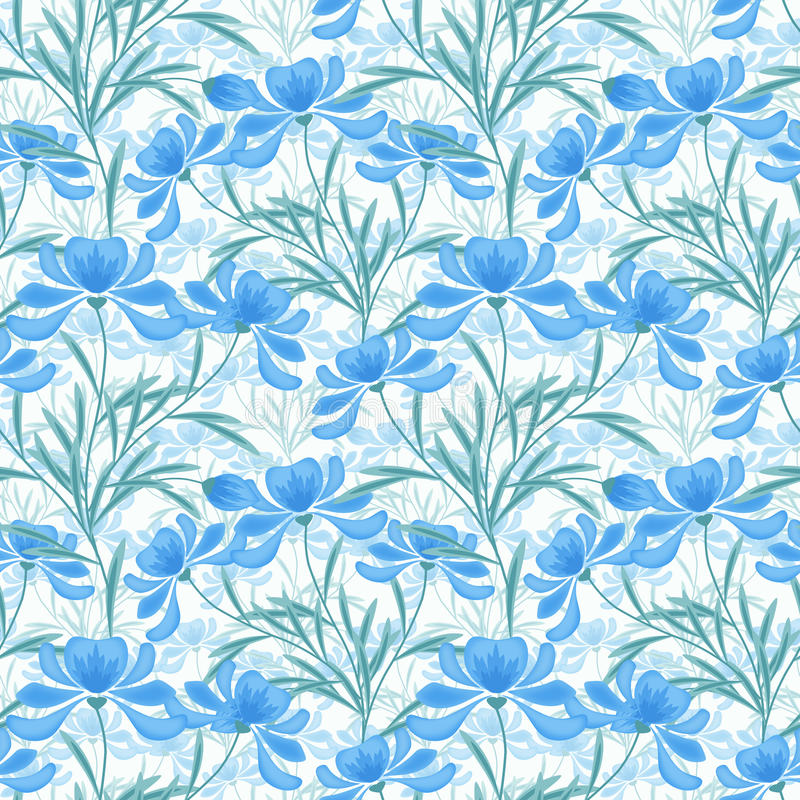 Floral seamless pattern, cartoon cute light blue flowers white background vector illustration