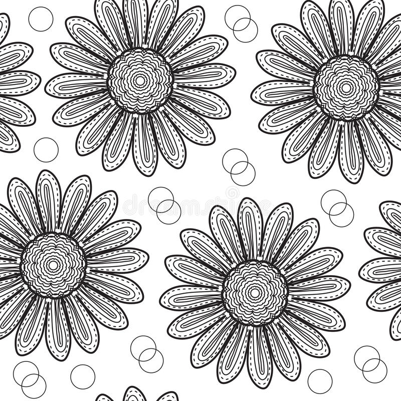 Floral seamless pattern chrysanthemum, in the style of hand drawing. Black and white flowers. Vector illustration royalty free illustration