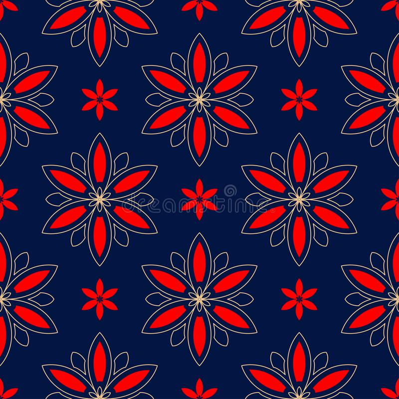 Floral seamless pattern. Colored red and blue background vector illustration
