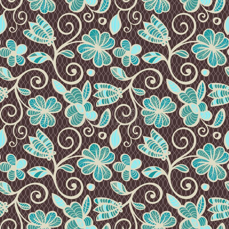 Floral seamless pattern. Colorful ethnic mandalas in brown, beige and blue colors. Arabesque vector ornament vector illustration