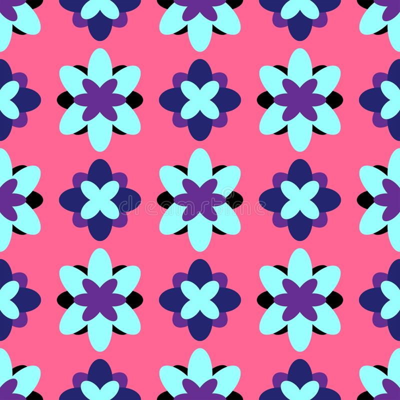 Floral seamless pattern. Colorful girl print with abstract flowers. Vector illustration.. Pink, purple, black, blue. royalty free illustration