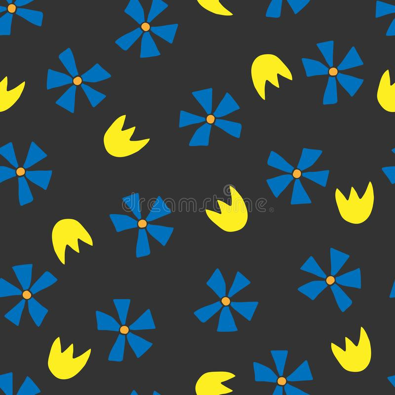 Floral seamless pattern with cornflowers and tulips in scandinavian style. royalty free illustration