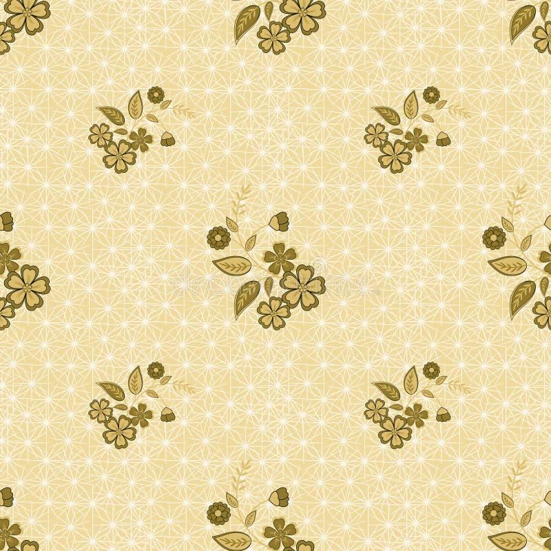 Floral seamless pattern, cute cartoon flowes beige background vector illustration