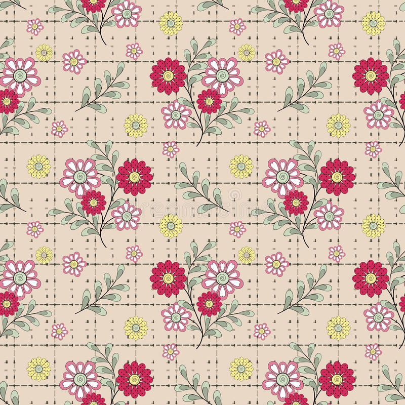 Floral seamless pattern, cute cartoon red flowers beige background stock illustration