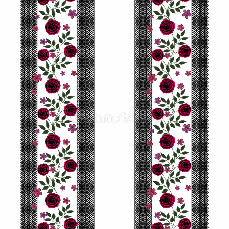 Floral seamless pattern, cute cartoon red flowers white background vector illustration