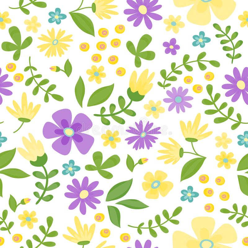 Free Floral Seamless Pattern. Cute Retro Flowers Wreath Perfect For Wedding Stock Photo - 111587970