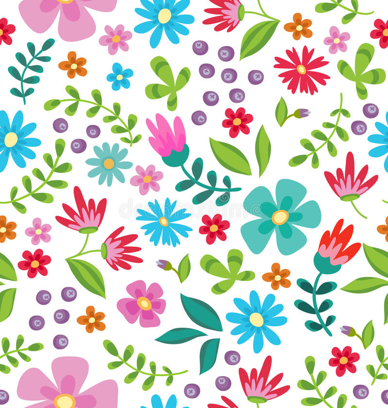 Floral seamless pattern. Cute retro flowers wreath perfect for wedding invitations and birthday cards. And other holiday and cute summer background vector illustration
