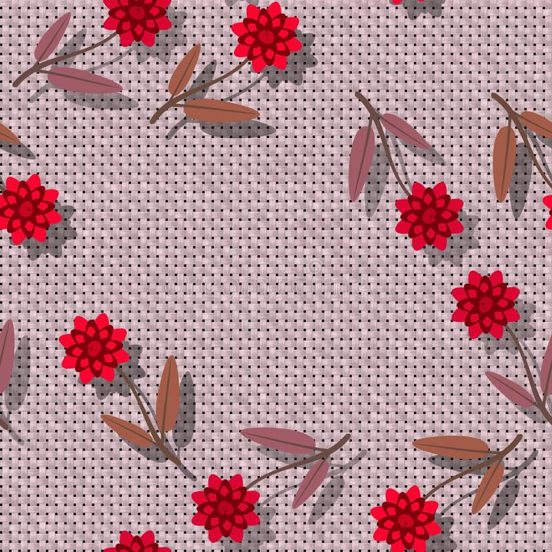 Floral seamless pattern - decorative bloom on rendered textile texture - digital collage. Red pink floral seamless pattern - decorative bloom on rendered textile royalty free illustration
