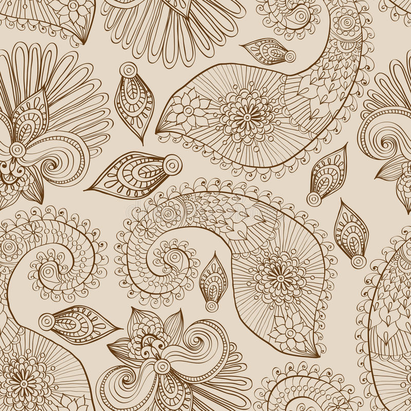 Floral seamless pattern with doodle flowers and paisley stock illustration