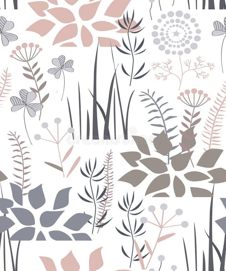 Floral seamless pattern with doodle plants, flowers, bushes, and grass. Pleasant palette. Vector illustration royalty free illustration