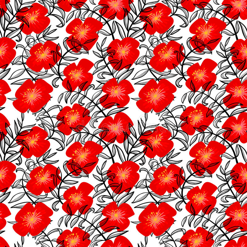 Floral seamless pattern in doodle style. Background with flowers. And line art leaves. Vector illustration in black red and white colors vector illustration
