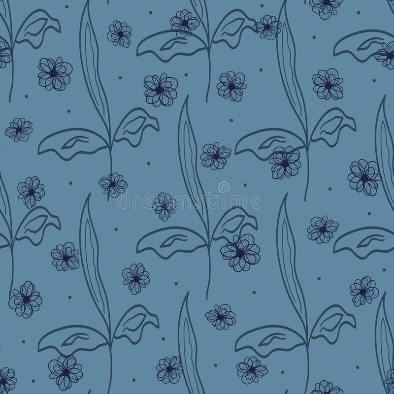 Floral seamless pattern drawn by hand. Sketch, doodle, scribble. royalty free illustration