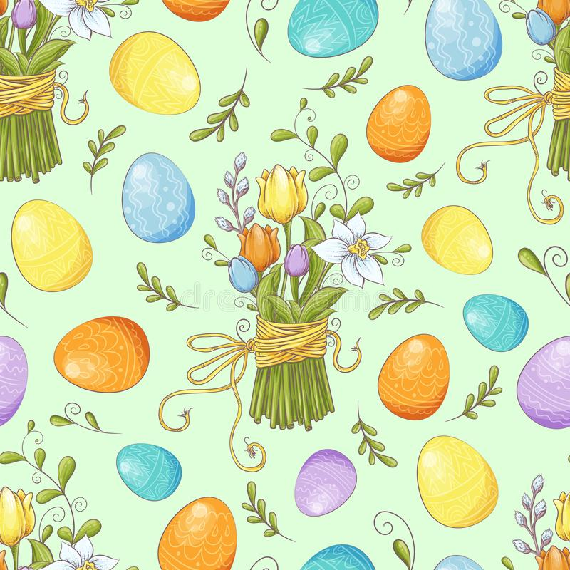 Floral seamless pattern with eggs and stylized flowers. Endless texture for spring design, decoration, greeting cards royalty free illustration