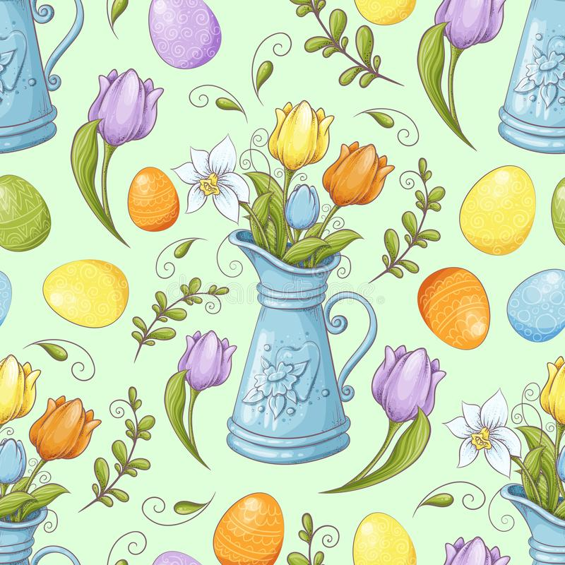 Floral seamless pattern with eggs and stylized flowers. Endless texture for spring design, decoration, greeting cards vector illustration
