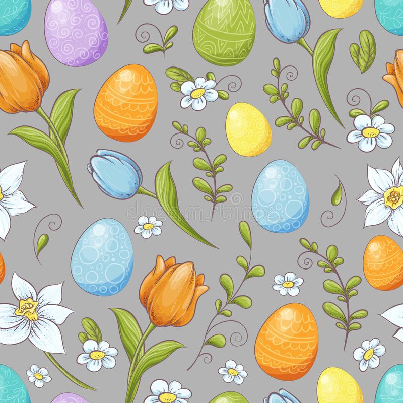 Floral seamless pattern with eggs and stylized flowers. Endless texture for spring design, decoration, greeting cards stock illustration