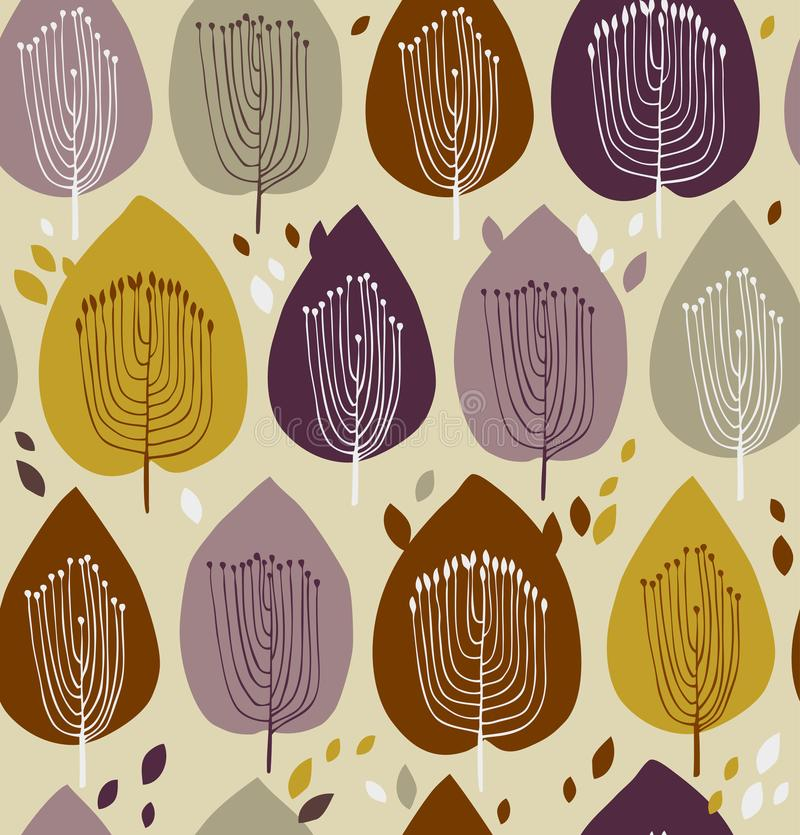 Floral seamless pattern, fabric texture with decorative trees. Cute background with leaves. For curtains, clothes, prints, wallpapers, packages stock illustration