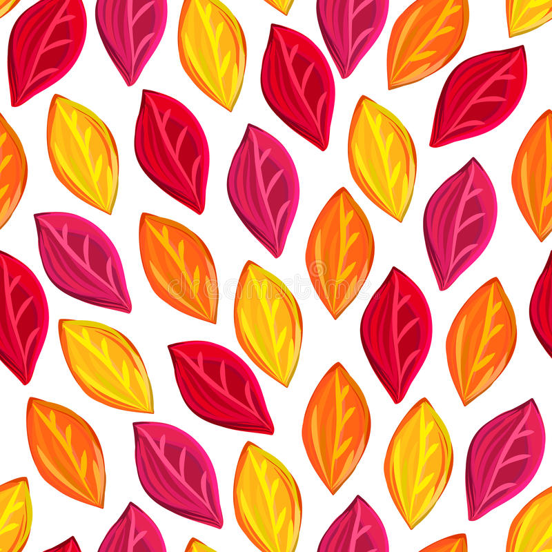 Floral seamless pattern with fallen leaves. Autumn. Leaf fall. Colorful artistic background. Can be used for wallpaper, textiles, wrapping, card, cover. Vector stock illustration