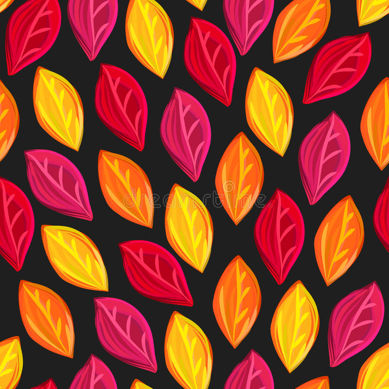 Floral seamless pattern with fallen leaves. Autumn. Leaf fall. Colorful artistic background. Can be used for wallpaper, textiles, wrapping, card, cover. Vector royalty free illustration