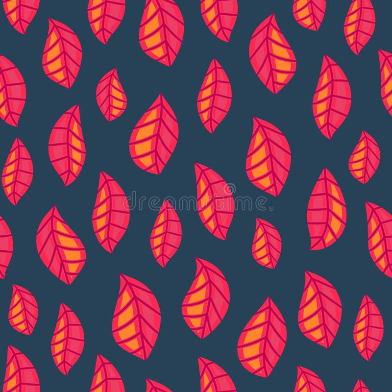 Floral seamless pattern with fallen leaves. Autumn. Leaf fall. Colorful artistic background. Can be used for wallpaper, textiles, wrapping, card, cover. Vector vector illustration