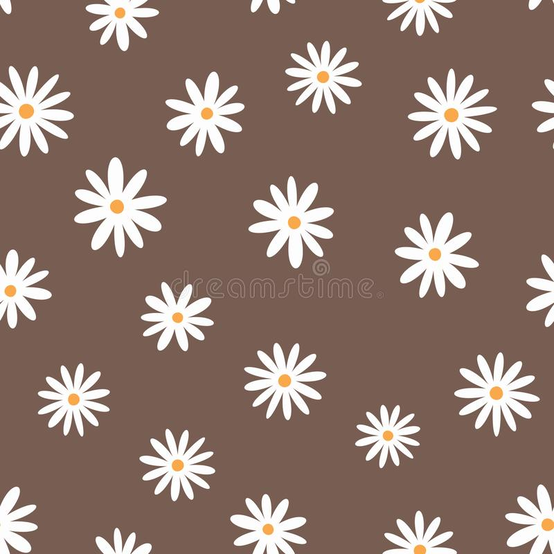 Floral seamless pattern. Feminine print with repeating daisies. royalty free illustration