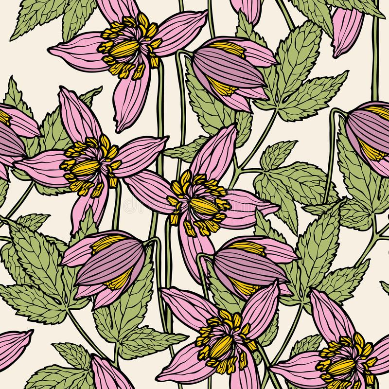Floral seamless pattern. Flower background. vector illustration