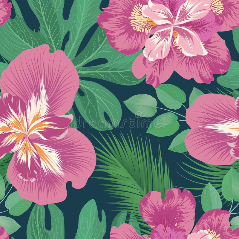 Floral seamless pattern. Flower background. Flourish garden. Texture with flowers and leaves ornament. Flourish nature garden textured wallpaper vector illustration
