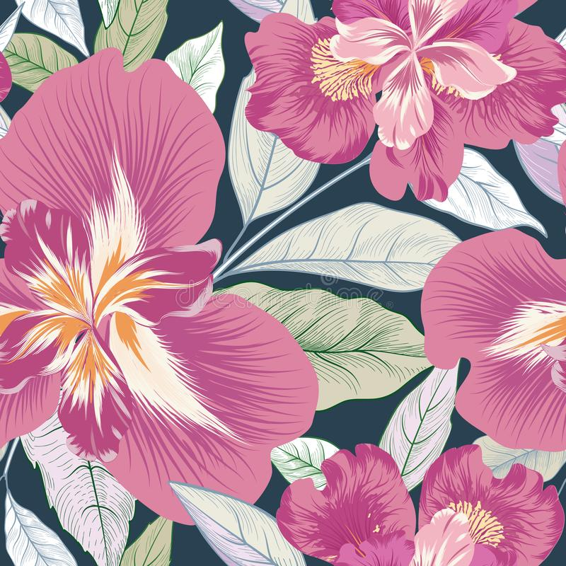 Floral seamless pattern. Flower background. Flourish nature garden. Floral seamless pattern. Flower background. Flourish garden texture with flowers and leaves stock illustration