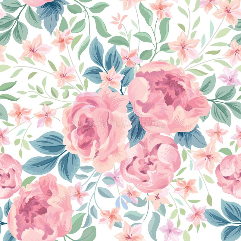 Floral seamless pattern. Flowers and leaves garden background vector illustration