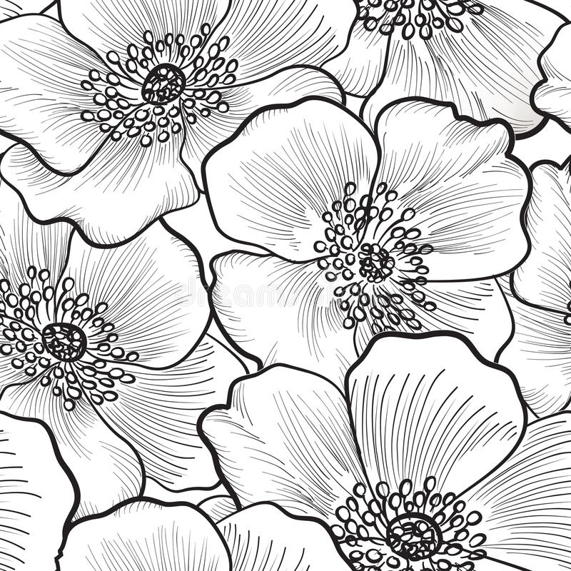 Floral seamless pattern. Flower background. Floral seamless pattern. Flower silhouette black and white background. Floral decorative seamless texture with vector illustration