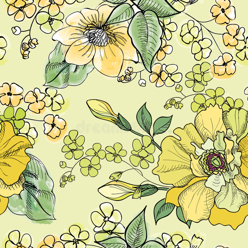 Floral seamless pattern. Flower background. royalty free illustration