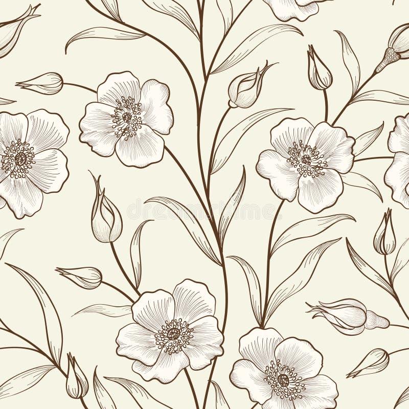 Floral seamless pattern. Flower border background. Floral tile s royalty free illustration