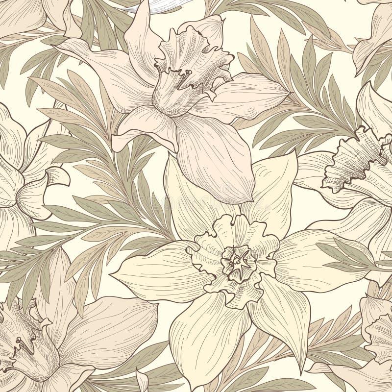 Floral seamless pattern. Flower doodle background. Florals engra royalty free illustration