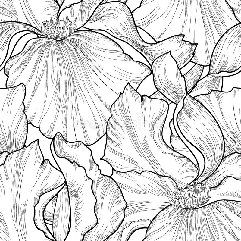 Floral seamless pattern. Flower iris etching background. Abstrac. T floral ornamental texture with flowers. Spring flourish garden. Fantastic flowers motif vector illustration