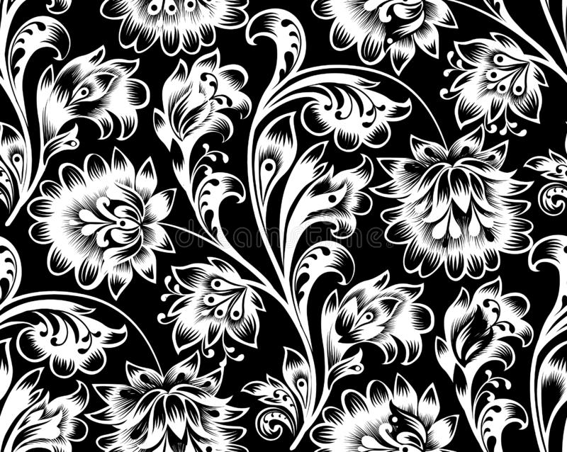 Floral tile pattern. Flower ornament. Ornamental flourish background in traditional folk russian style vector illustration